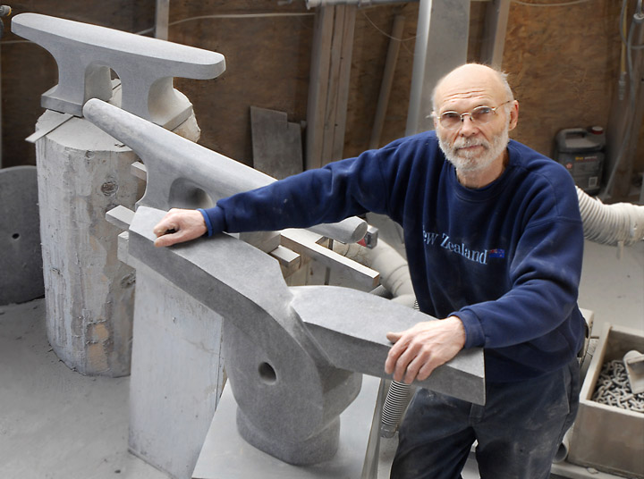 Don Meserve shows a few of his granite sculptures in his Round Pond studio on March 7, 2008.