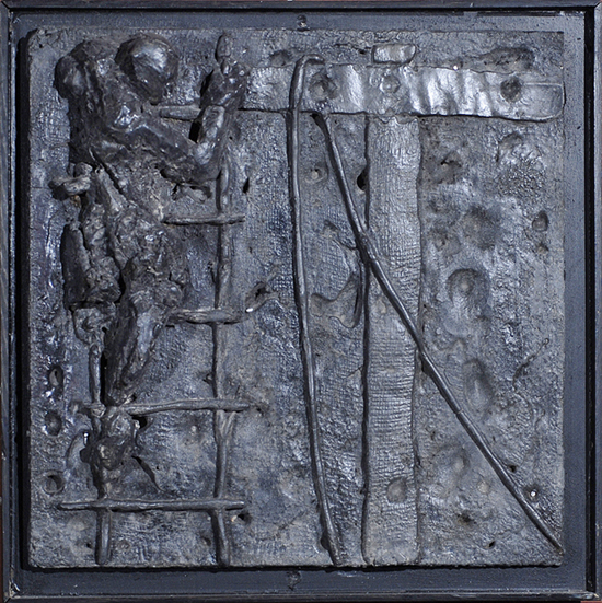 A bas relief casting in lead created by Don Meserve depicts the 12th in a series of 14 stations of the cross. The 14-by-14-inch works are hung around the perimeter of the Emanuel Chapel at the Cathedral of St. Luke in Portland.