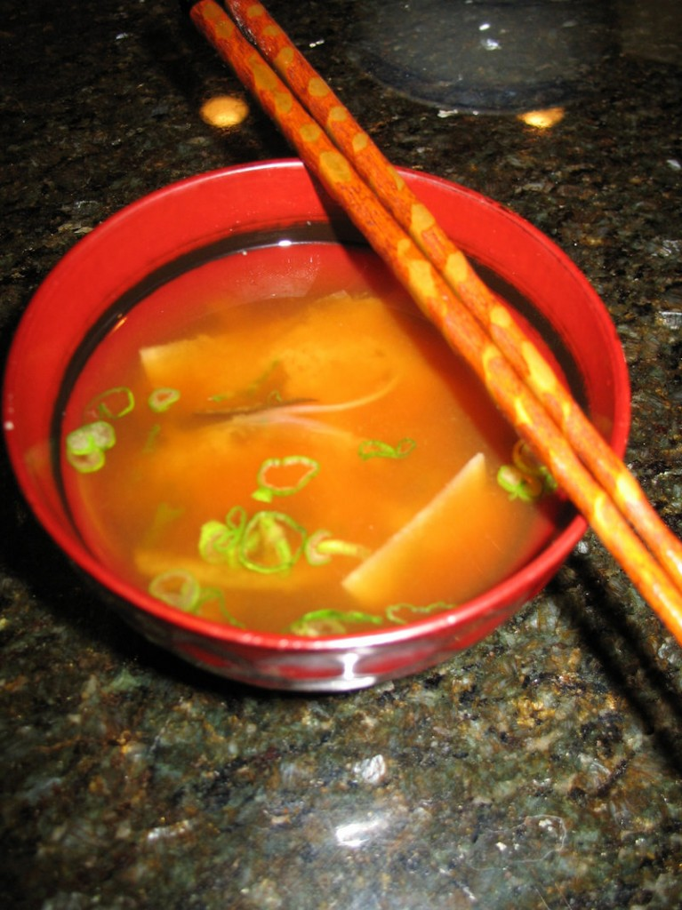 Kramer's miso soup contains turnips and bok choy.