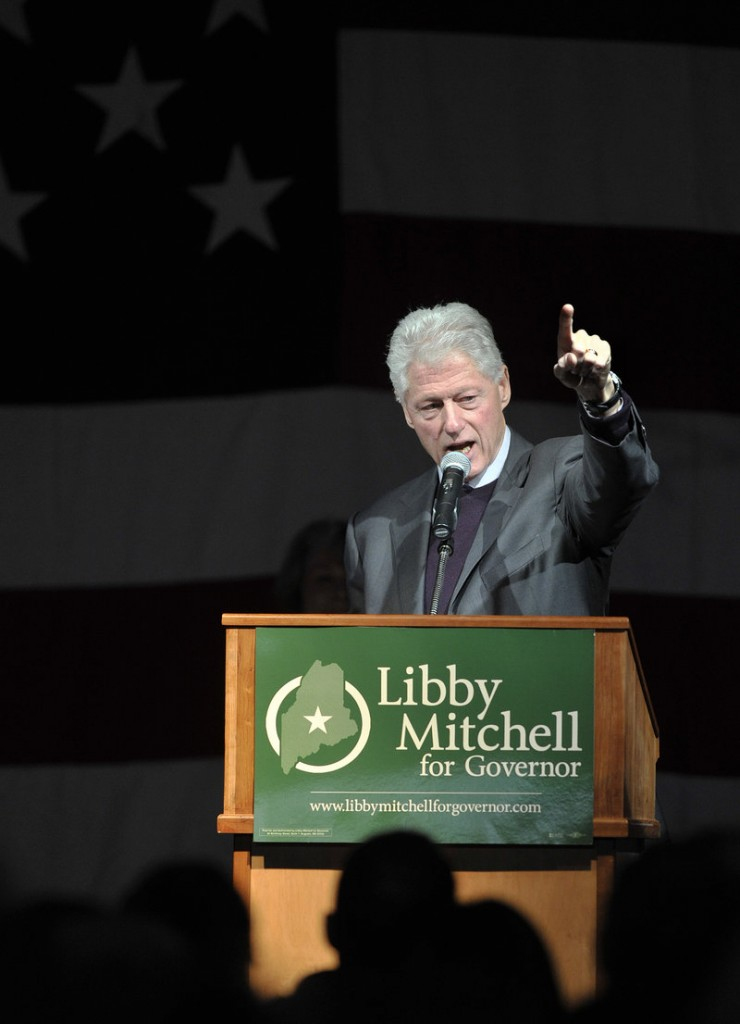 Former President Bill Clinton makes a point at a rally in Lewiston on Sunday.