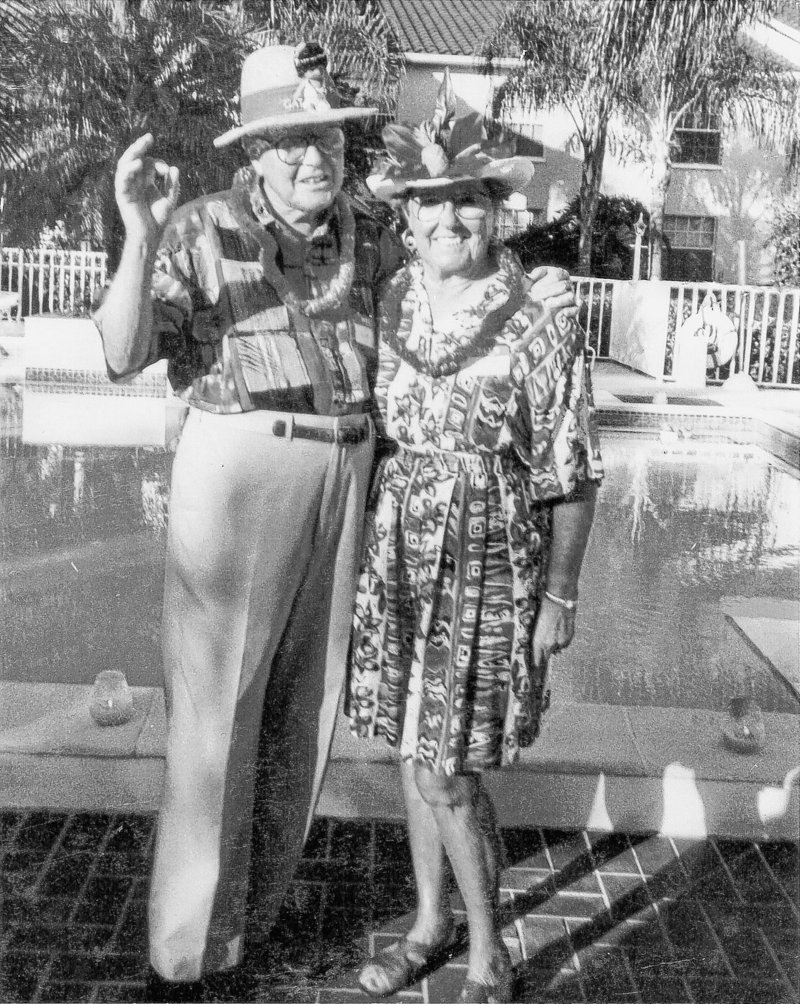 Roger and Shirley Welch at a Hawaiian party at the Vineyards in Naples, Fla., their winter home.