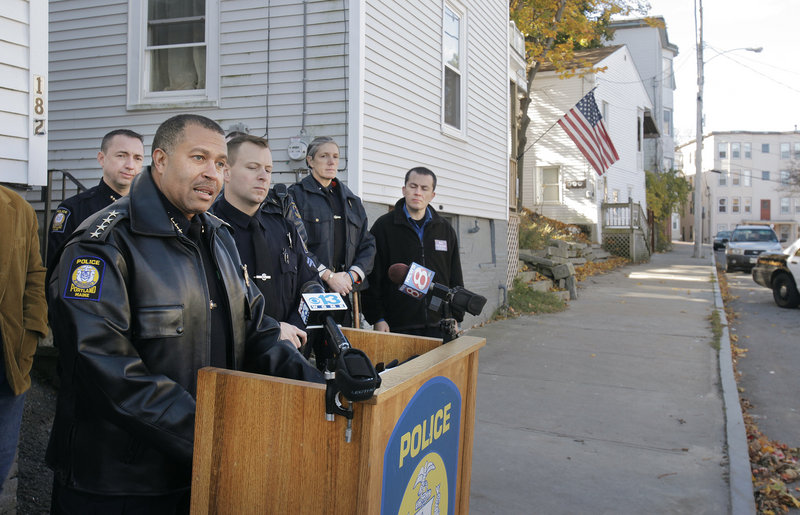Portland Police Chief James Craig talks to the media along Grant Street in Portland on Monday, explaining his department's efforts to combat drugs, drug dealing and inattentive landlords in the Parkside neighborhood.