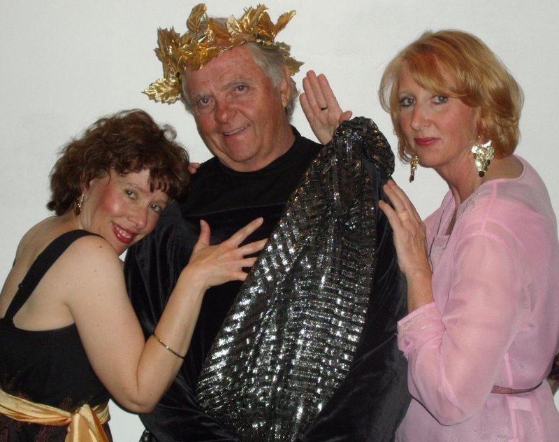 Skip Clark is Emperor Nero and Suzanne Menard and Heather Murdock Curry are two of his concubines in a new play about the beginnings of Christianity by Maine playwrights Hank Beebe and Bill Heyer.