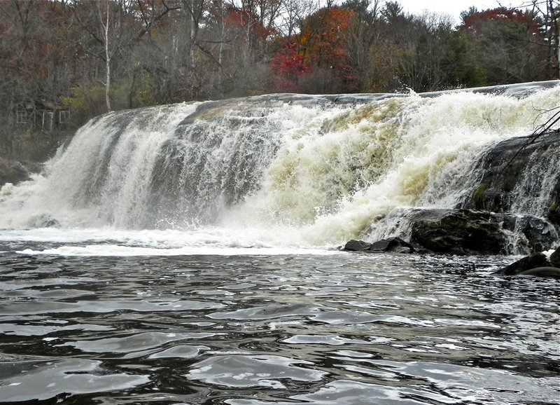 The waterfall at Cathance Road in Topsham is an impressive turn-around point for paddlers exploring the Cathance River.