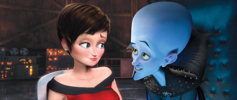 Roxanne Ritchi, voiced by Tina Fey, and the villainous Megamind, voiced by Will Ferrell, in Megamind