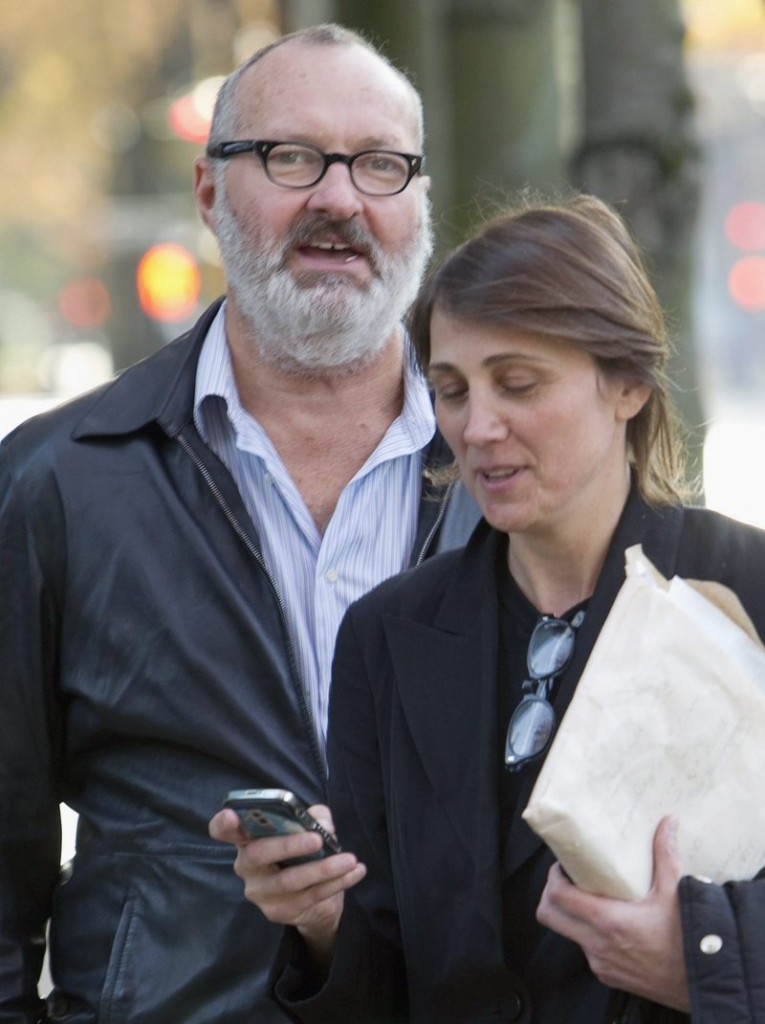 Randy Quaid and his wife Eviwait for a taxi outside a lawyer's office in Vancouver, Canada.