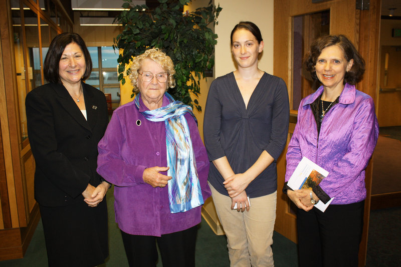Selma Botman, USM president, Lillian O'Brien, who serves on the advisory board of USM's Lewiston-Auburn College, USM grad Nicole O'Brien and Meg Weston, president and CEO of the USM Foundation.