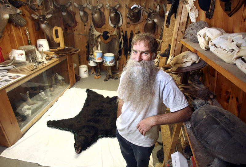 Taxidermist Dennis Theriault of Sanford has about 300 customers per year. Most of his work is mounting deer, bear and other game, but he's also processed a toucan and a few pet cats.