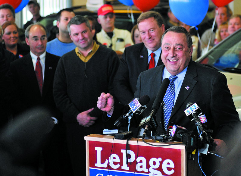 Gov.-elect Paul LePage speaks to supporters during a news conference Wednesday at a Central Maine Motors Auto Group dealership in Waterville after opponent Eliot Cutler conceded the governor's race.