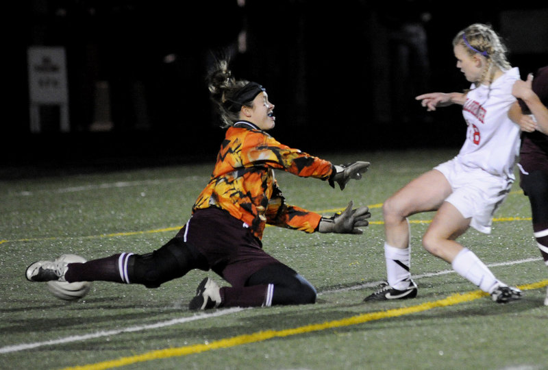 Haley Carignan of Scarborough was in the right place at the right time Wednesday night, knocking a rebound past Thornton Academy goalie Sydney Proctor – the only goal of the Western Class A final. Scarborough will play Bangor for the state championship Saturday.