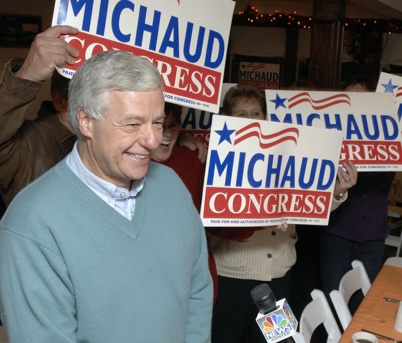 The 2nd District's Rep. Mike Michaud speaks to supporters after his victory.