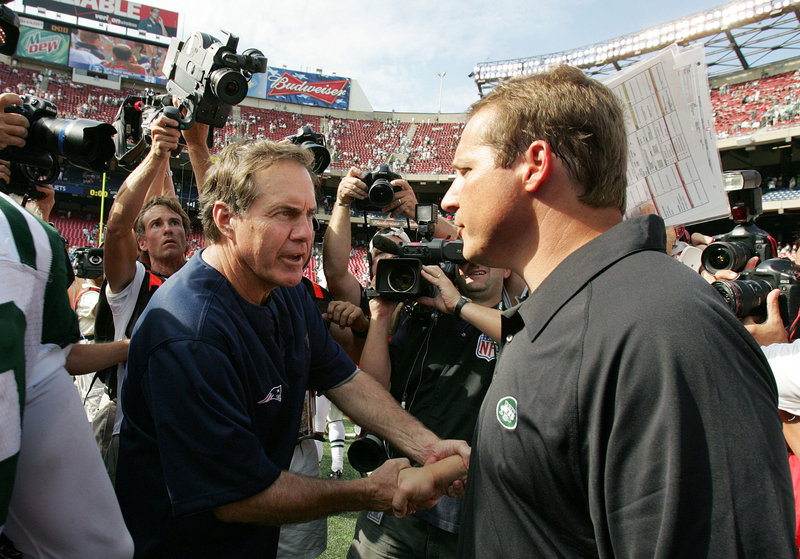 The postgame handshakes between Patriots Coach Bill Belichick, left, and Browns Coach Eric Mangini have been less than cordial, the result of Mangini leaving New England in 2006 to become the Jets' head coach.