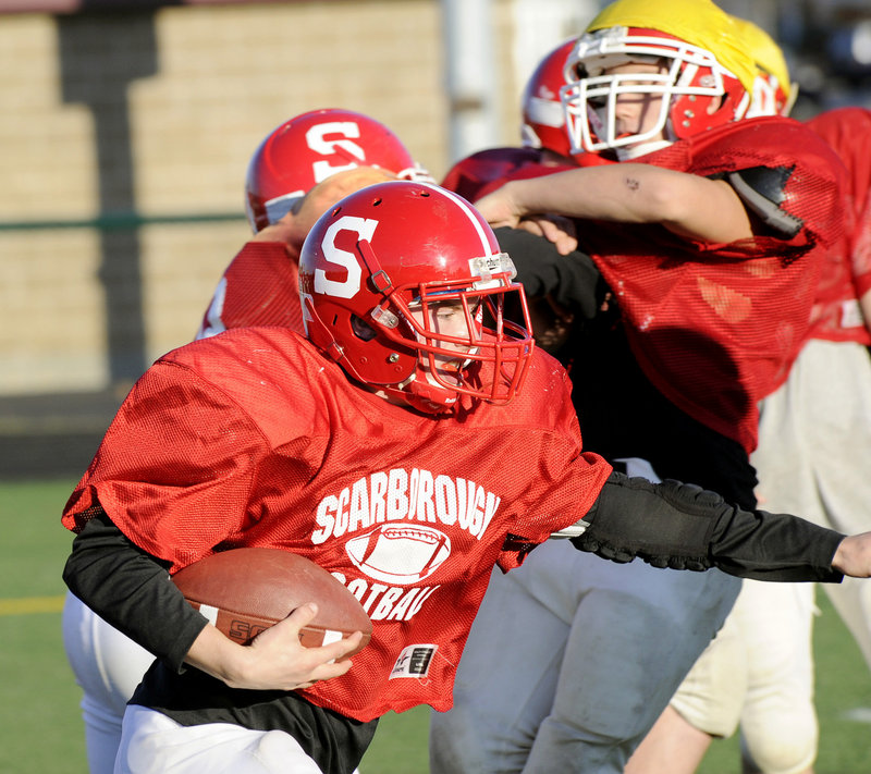 Mark Pearson is part of an offensive backfield that has been effective in a turnaround season for Scarborough, which will be at Cheverus in a Western Class A semifinal Saturday. Teams like Scarborough must be ready to run the ball for playoff success because of conditions in November.