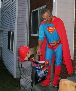 "Willard ""Leroy"" Adams dressed up as Superman two years ago to hand out candy on Halloween. He also wore the costume at other times to give his friends a laugh."