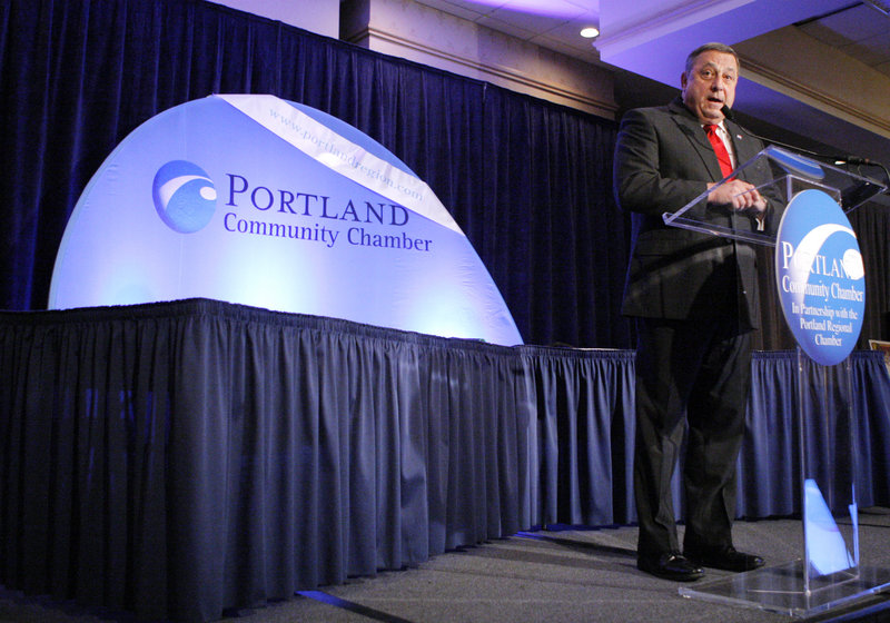 Gov.-elect Paul LePage speaks at the Portland Community Chamber's Eggs and Issues forum at the Holiday Inn by the Bay in Portland on Friday.