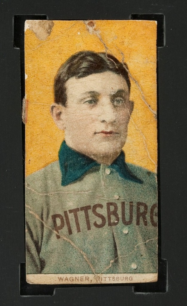This photo provided by Heritage Auctions shows a century-old T206 Honus Wagner baseball card. It's the most sought-after baseball card in history.