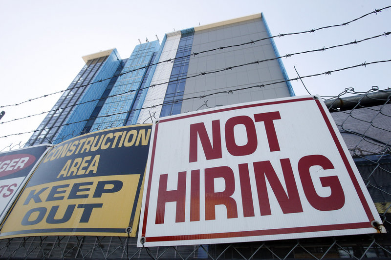 A sign at a construction site in New Orleans turns away potential job-seekers. Although the economy added 151,000 jobs in October, it wasn't enough to reduce the unemployment rate, which has held steady at 9.6 percent for three months.