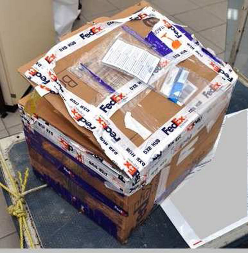 Photo released by Interpol on Saturday shows the FedEx Express package seized at FedEx Cargo Handling Centre, Dubai Airport, which was headed for the United States.