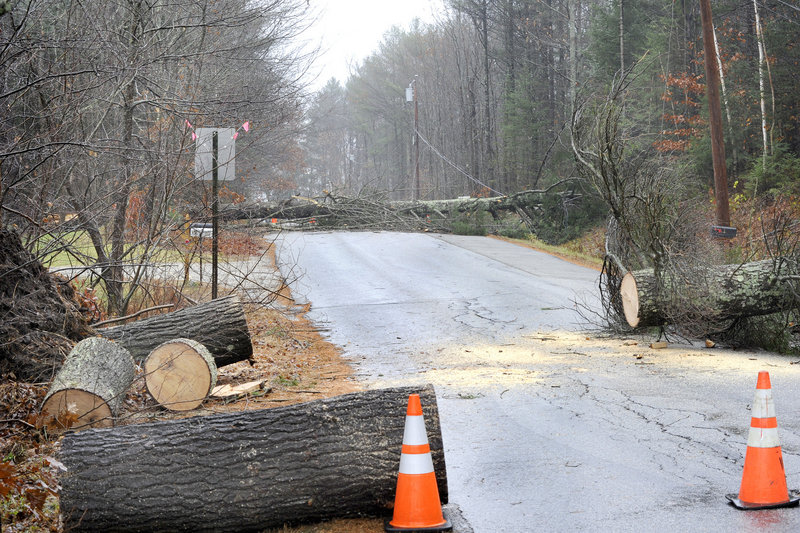 The Walter Patridge Road in Windham is blocked Monday as crews worked to clean up other sites.