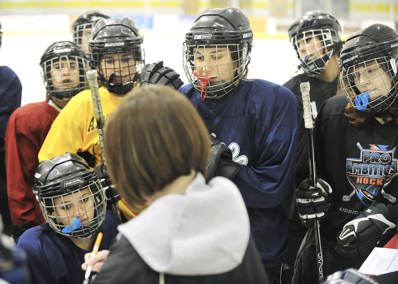 With skates, helmets with screens, mouthguards and likely more than a few sets of sore legs, Maine girls playing high school hockey, including those from Scarborough, shown here, begin preparations this week for another varsity season at rinks from New Hampshire north.