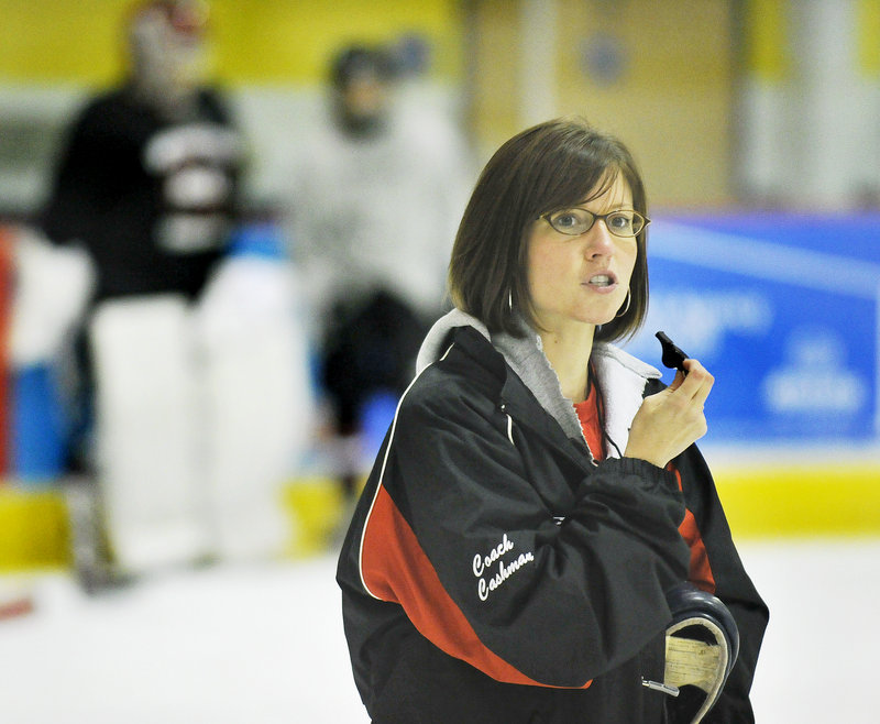 Caitlin Cashman, who played hockey at the University of Southern Maine, prepares for her second season as head coach of the Scarborough High girls' hockey program.