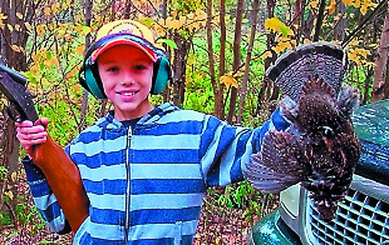 Kevin Collins, ll, of Fairfield bagged his first partridge in October while hunting with his uncle, Gene Collins, near Moosehead Lake.