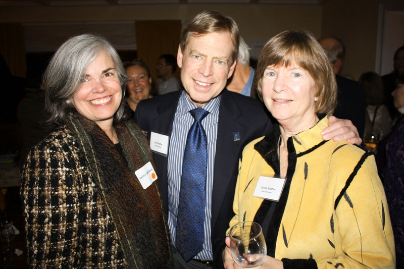 Kathryn Bean Davis of Kennebunk, who serves on the advisory committee, and host committee members Jim and Lynn Shaffer, who live next door to the party's hosts.