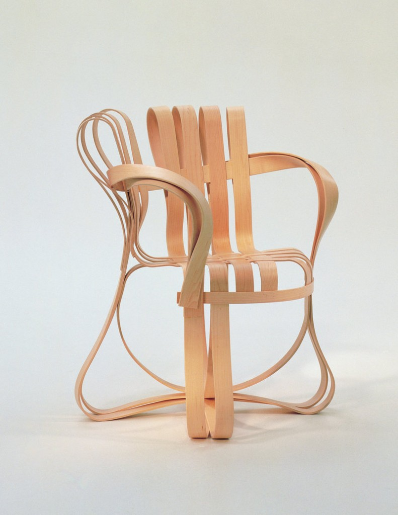 "Frank Gehry's ""Cross Check Arm Chair"" in laminated maple, ca. 1992"