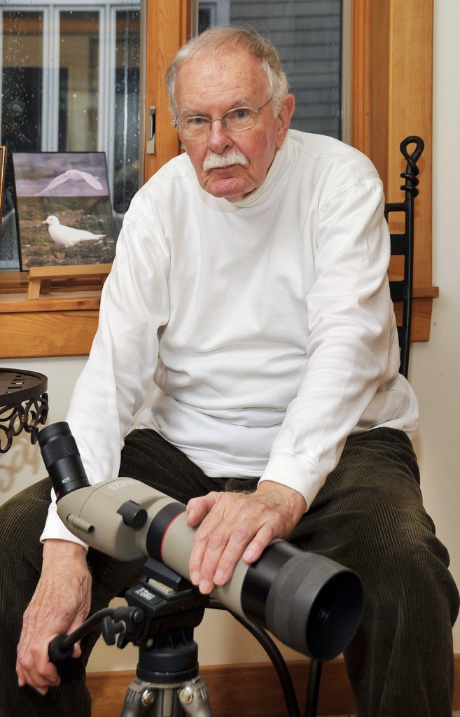 Robert Manns is an avid bird hunter. Here he shows off one of his spotting scopes.
