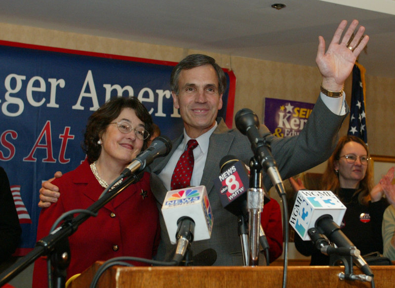 Former Portland Mayor Tom Allen and his wife, Dianna, acknowledge the cheers of supporters after his 2004 re-election to Congress.