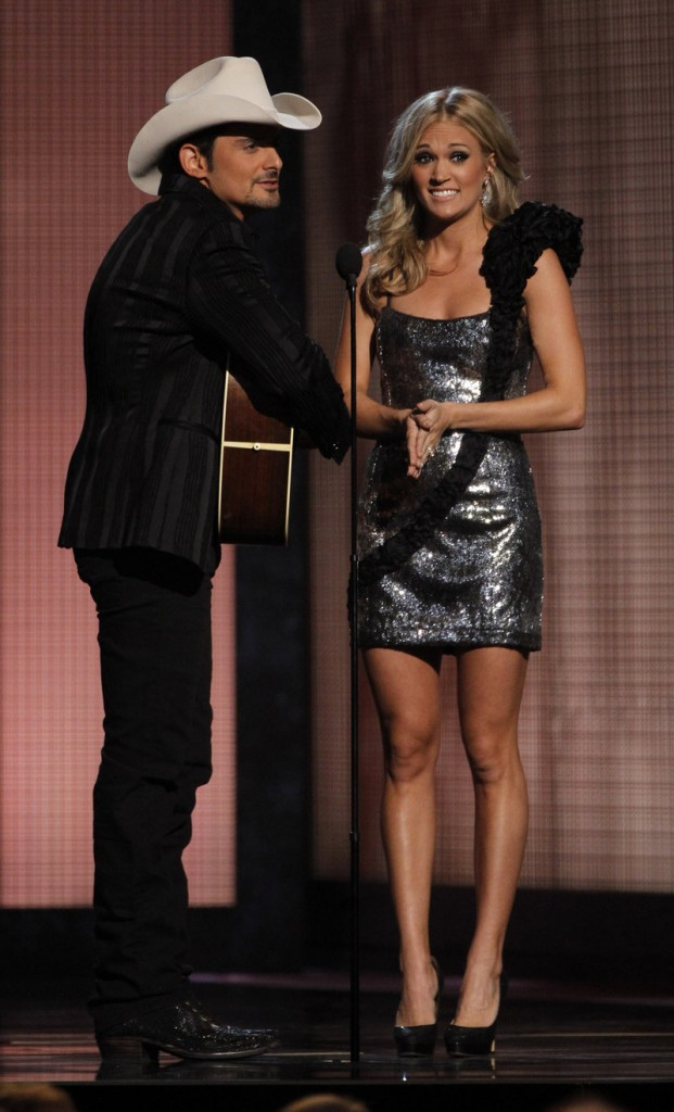 Carrie Underwood and Brad Paisley host the Country Music Awards in Nashville, Tenn., on Wednesday.