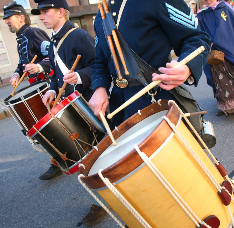 Members of the 3rd Maine Regiment Volunteer Infantry man the drums Thursday.