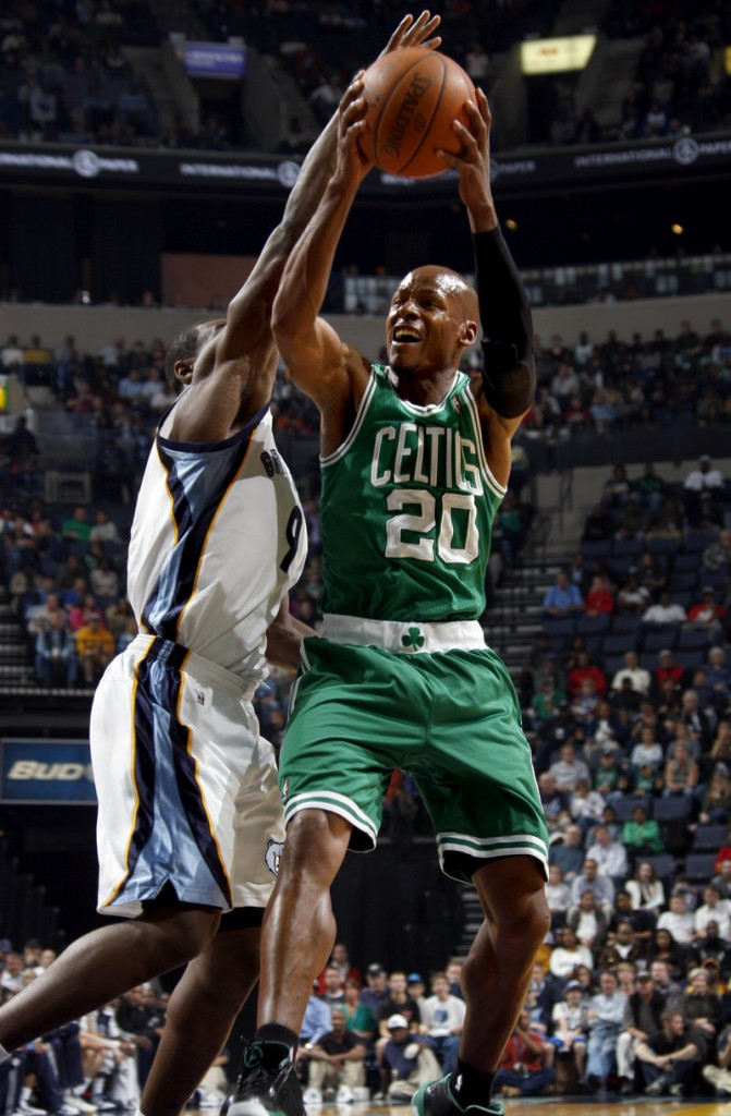 Ray Allen of the Boston Celtics heads to the basket Saturday night while defended by Tony Allen of the Memphis Grizzlies during the first half of the Celtics' 116-110 victory.