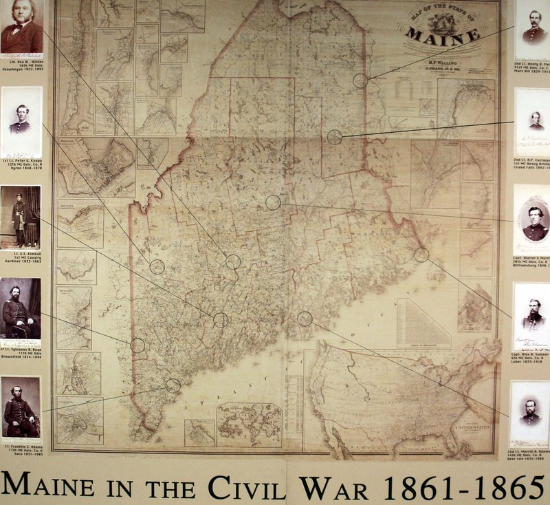 A replica of a Civil War-era Maine map hangs in the state archive collection in Augusta. Maine could well have the most extensive collection of Civil War material of any Northern state, says a past head of the National Association of Government Archives and Records Administrators.