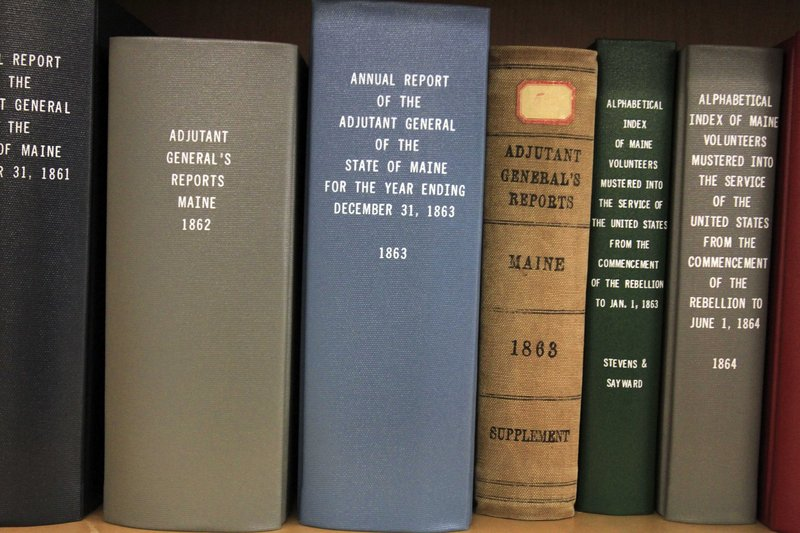 Books containing Civil War records are seen in the Maine State Archive collection. The archive has 180,000 letters from the Civil War period.
