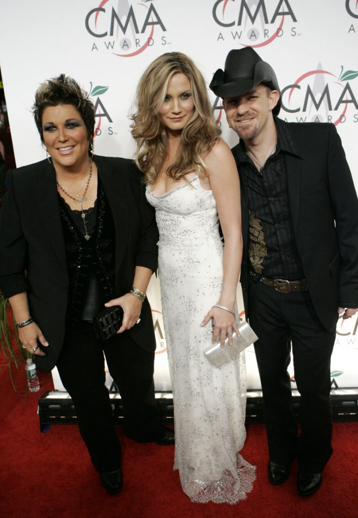 Sugarland, from left, Kristen Hall, Jennifer Nettles and Kristian Bush, arrives for the 39th Annual Country Music Association Awards in New York in November 2005. Hall quit the band the following month.