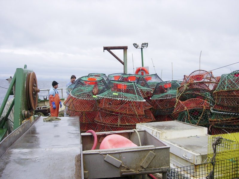 Capt. Tim Foley and crewman Giovanni Lux aboard the Hannah Boden prepare to set traps for the Atlantic deep-sea red crab during gear selectivity trials in 2006.