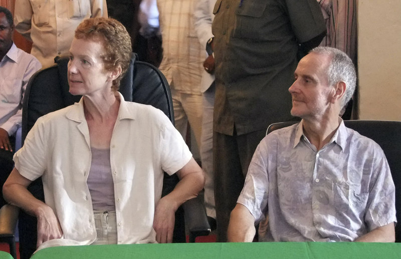 "Paul and Rachel Chandler speak to reporters in Mogadishu, Somalia, on Sunday, when Rachel Chandler said, ""We are happy to be alive"" after more than a year in captivity."
