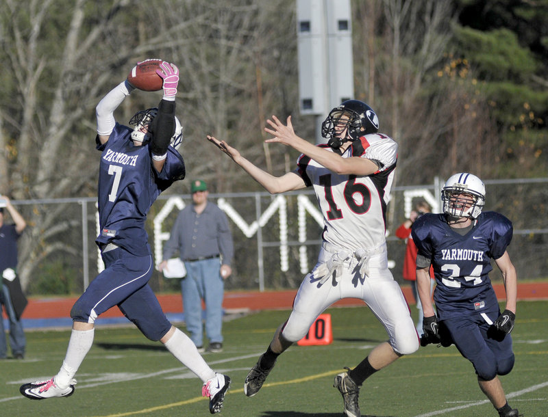 Tommy O'Toole s interception halted a drive by Lisbon during Yarmouth's 14-12 come-from-behind victory last Saturday in the Western Class C championship game.