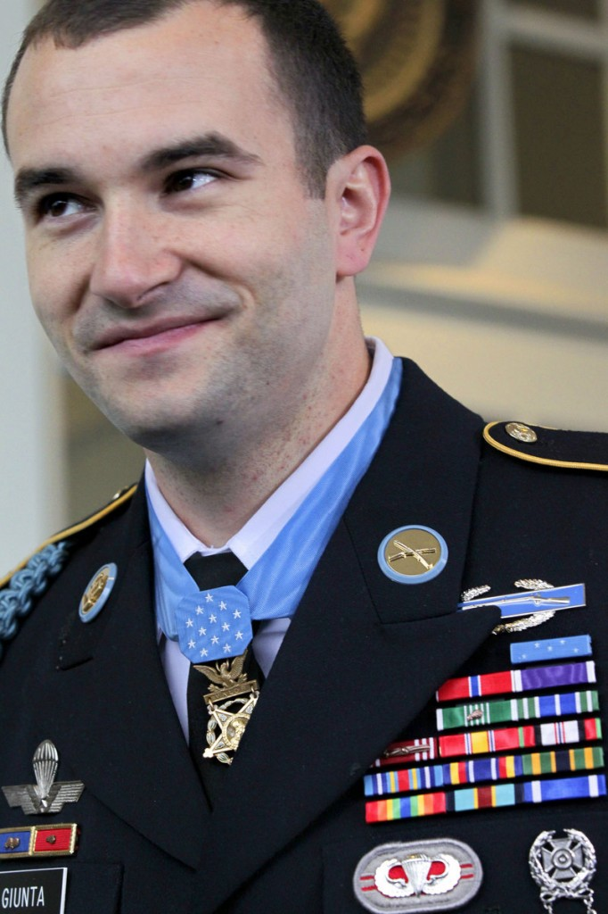 Staff Sgt. Salvatore Giunta leaves the White House wearing the Medal of Honor presented to him Tuesday by President Obama. Giunta, 25, of Hiawatha, Iowa, also has received the Bronze Star Medal and the Purple Heart, along with other awards displayed on his uniform.