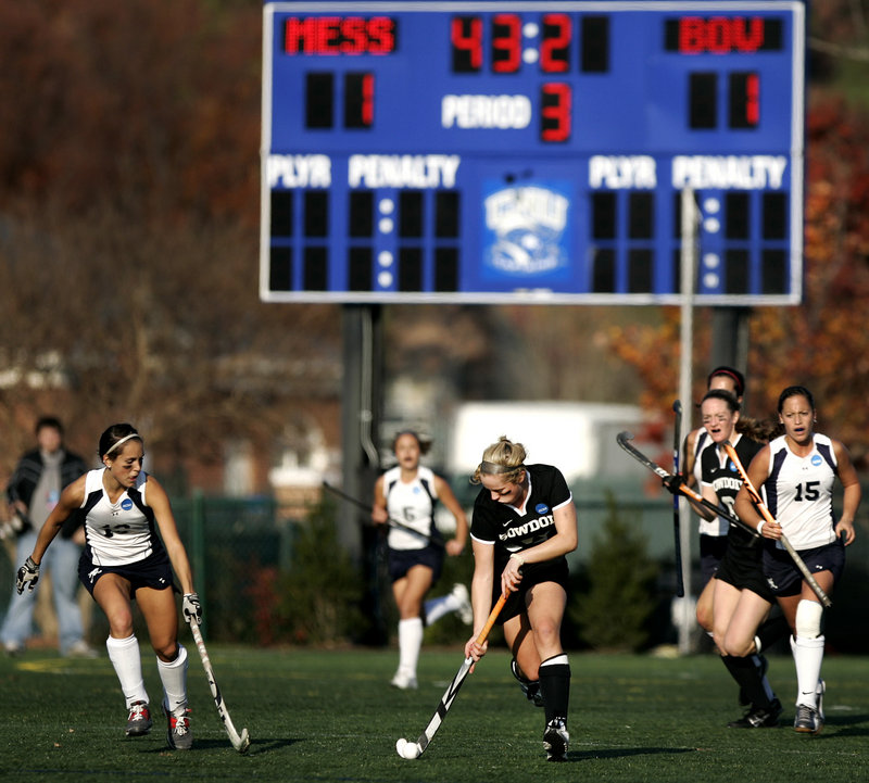 Katie Herter of Bowdoin races up field near the end of the first overtime period Sunday at Christopher Newport University in Newport News, Va. The game was tied 1-1 at after two overtime periods and went to penalty strokes.