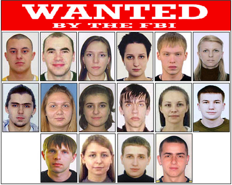 A poster released by the FBI shows Eastern European cyberthieves wanted on federal charges stemming from criminal activities including money laundering, bank fraud, passport fraud and identity theft in New York.