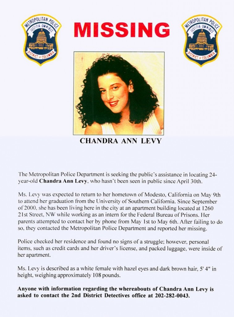 Chandra Levy's body was found a year after she disappeared.