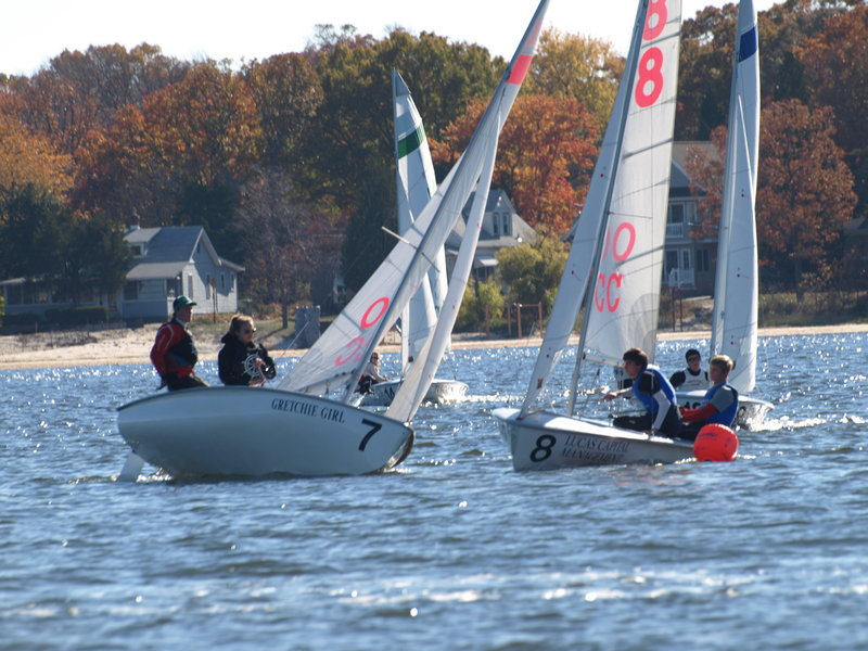 Falmouth High sailors Charlie Lalumiere and Ellie MacEwan, in boat No. 7, race against a team from Norfolk Collegiate School during the Interscholastic Sailing Association Atlantic Coast Championships at Toms River, N.J. Falmouth placed third in the regatta.