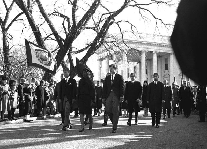 Robert F. Kennedy marches to the left of his brother's widow, Jackie, in President John F. Kennedy's funeral procession in 1963. Edward Kennedy is to Jackie's right.