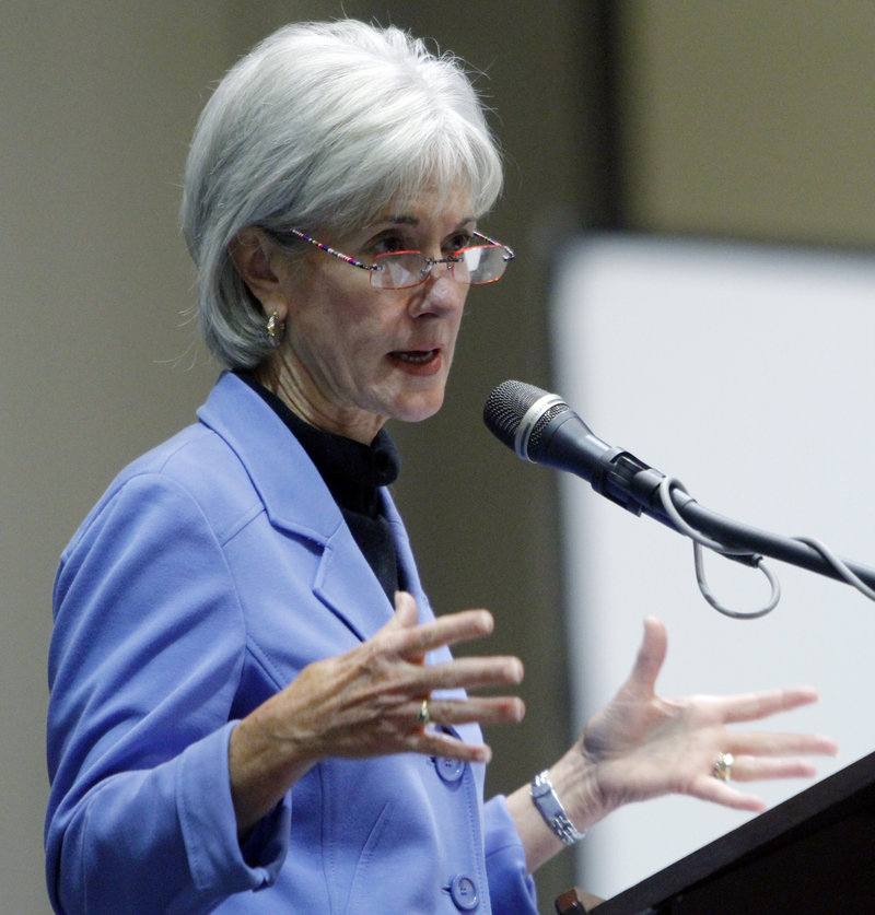 "Health and Human Services Secretary Kathleen Sebelius says administrative costs for some health insurers ""have gotten out of hand."""