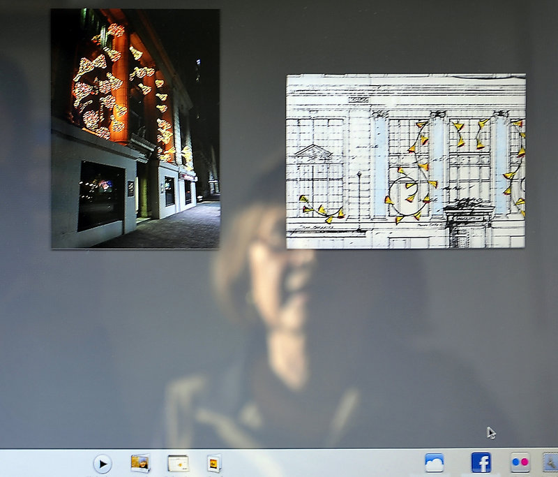 Pandora LaCasse likes to keep photos of her creations, such as these cascading bell shapes, next to her artist's renderings on her computer, for future reference.