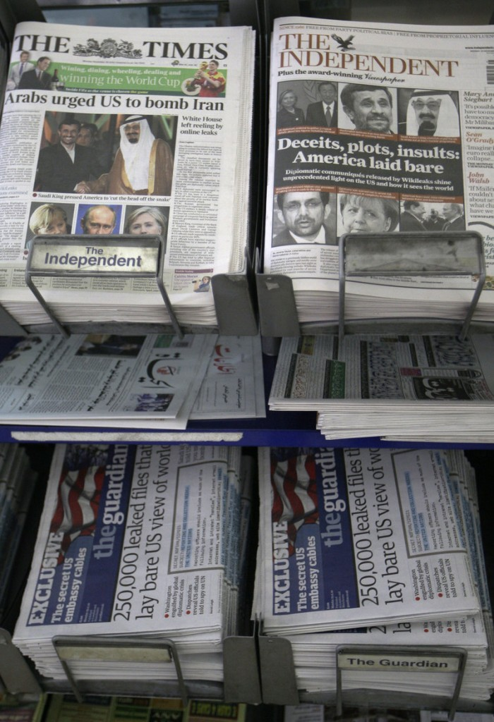 The Times, a British newspaper, is one of many publications around the world Monday focusing on the WikiLeaks release.