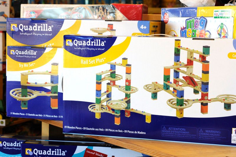 "Rainbow Toys in Falmouth stocks a wide variety of wooden toys and games. ""I think wood blocks have been bigger this year, maybe because people are looking for value, for something long-lasting,"" said Julie Steinbach, the store's owner."