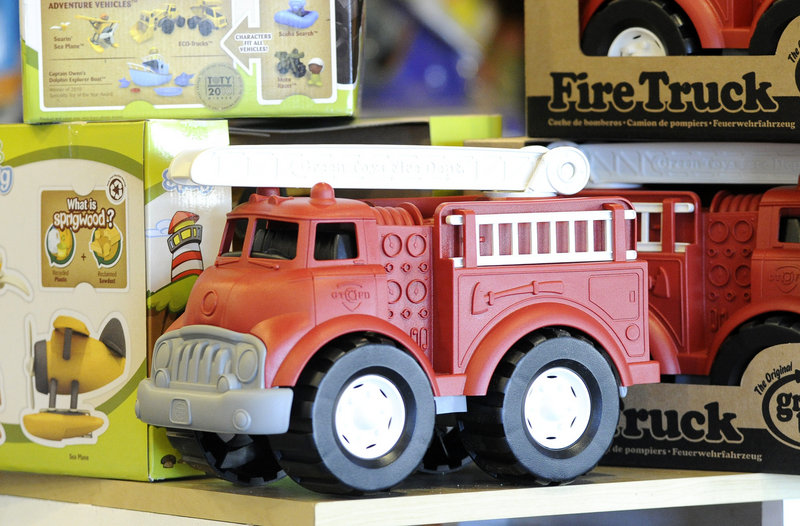 This firetruck is among the toys at Rainbow Toys in Falmouth that are made of recycled material by the company Green Toys.